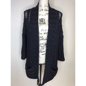 Ann Taylor Chunky Knit Cardigan - Black - size M/L